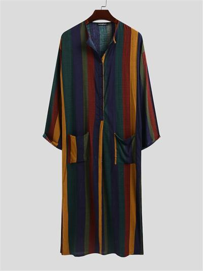 Mens Casual Contrast Color Long Sleeve Robes