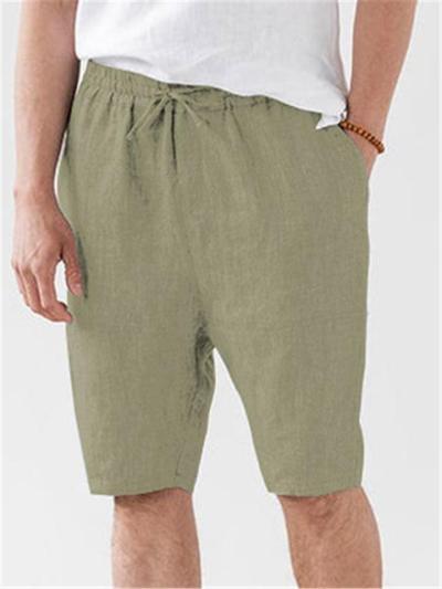 Mens Sports Loose Linen Drawstring Cropped Pants