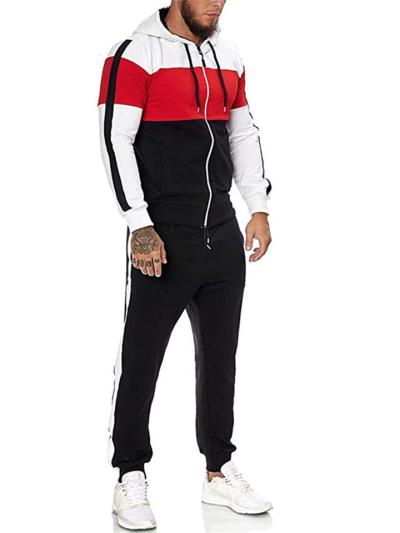 Mens Outdoor Gym Patchwork Personality Outwear+Pants