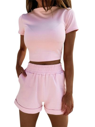 Two-Piece Set Leisure Round Neck Short-Sleeved Top + Solid Color Shorts