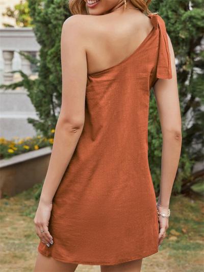 Women's Sexy Oblique Shoulder Lace-Up Solid Color Irregular Dress