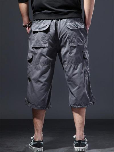 Mens Classic Cotton Lightweight Loose Beach Cropped Trousers