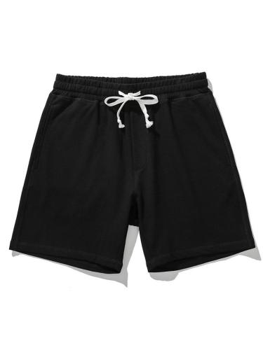 Mens Casual Soft Cotton Solid Color Knee Shorts