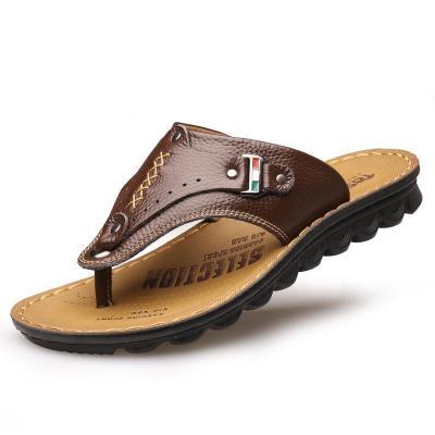 Mens Fashion Breathable Classic Vintage Comfy Leather Flip Flop