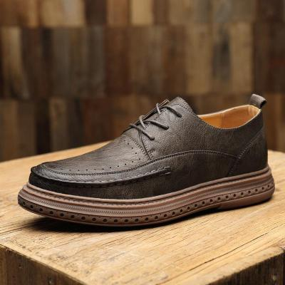 Mens Claasic Vintage Stitching Casual Leather Loafers
