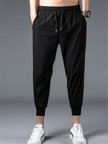 Mens Sports Quick Dry Running Cropped Pants