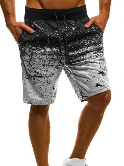 Mens Casual Print Personality Beach Knee Shorts