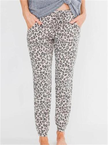 Casual Sports Leopard Print Drawstring Elastic Waist Cropped Trousers