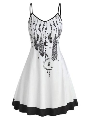 Trendy Print V-Neck Mid-Waist Spaghetti Strap Dress