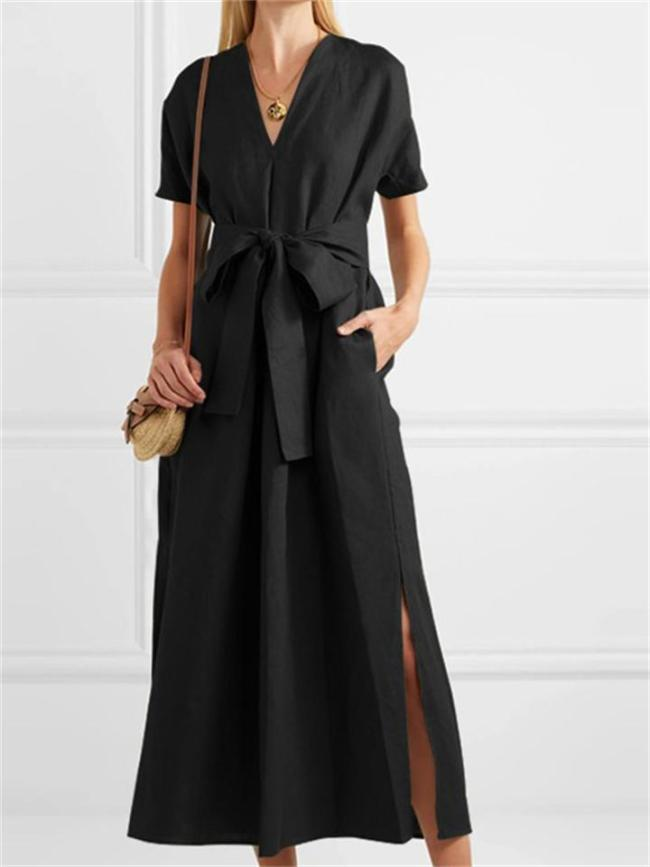 Vintage Solid Color Short Sleeve V-Neck Slit Hem Dress