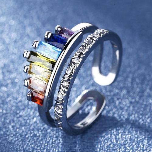 Fashion Opening Adjustable Rainbow Crown Ring