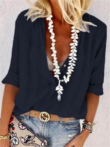Street Style Sexy Casual V-Neck Button Blouse
