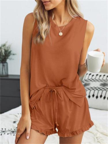 Women's Loose Solid Color Round Neck Sleeveless Top + Lace-Up Shorts