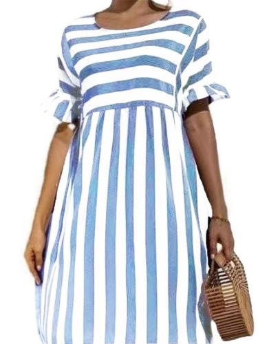 Fashion Striped Lotus Leaf Sleeve Mid-Waist Round Neck A-Line Dress