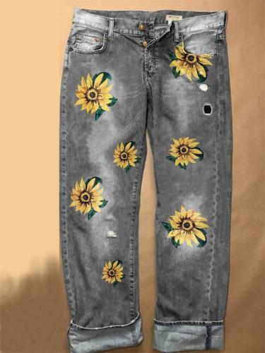 On-Trendy Sunflower Print Mid-Rise Wide-Leg Denim Trousers