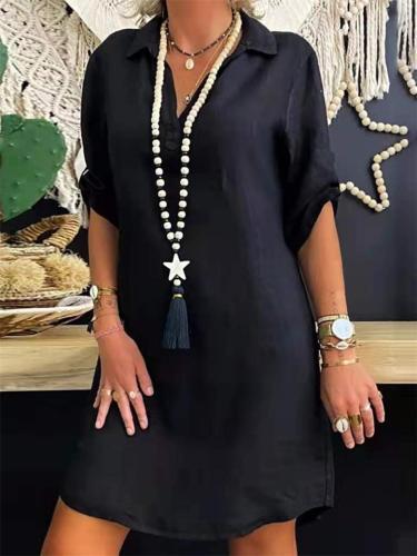 Retro Solid Color V-Neck Short-Sleeved Cotton Dress