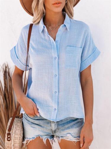 Cotton Linen Short Sleeve Pocket Button Lapel Blouse