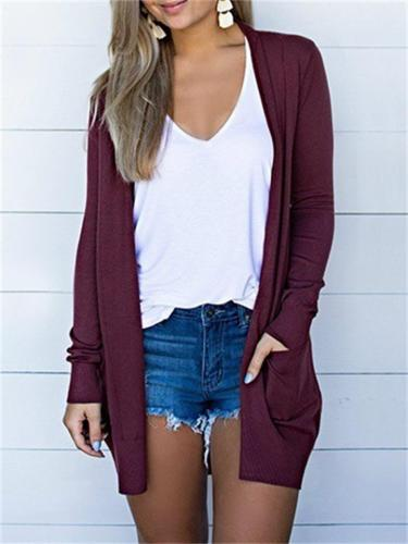 New Arrival Fit Solid Color Open Front Long Sleeve Pocket Cardigan