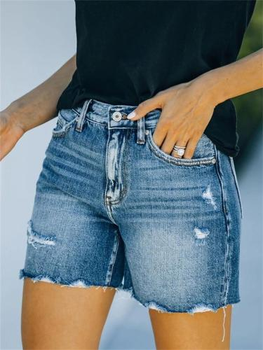 On-Trendy Mid-Rise Washed Effect Denim Shorts
