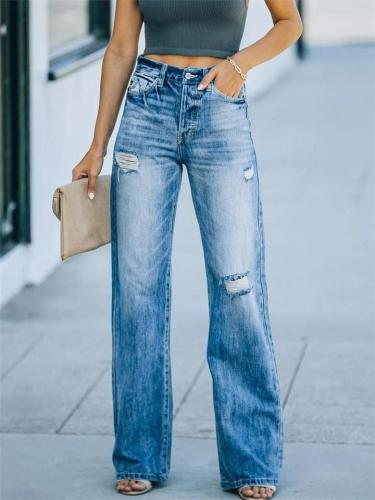 High Quality Wide-Leg Ripped Denim Trousers
