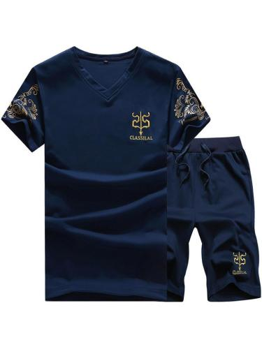 Mens Fashion Breathable Print Short Sleeve T-Shirts+Shorts
