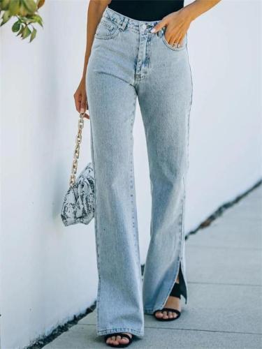 Women's Fashion Slit Washed Effect Flared Pants