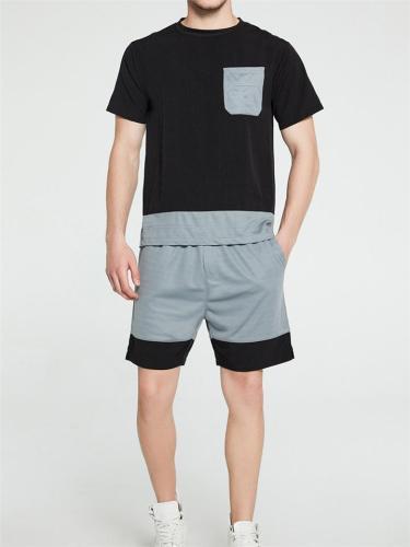 Mens Soft Comfy Patchwork Short Sleeve T-Shirts+Shorts