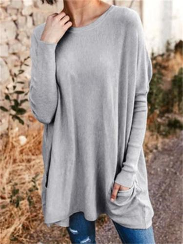 Women's Casual Loose Solid Color T-Shirt With Pockets