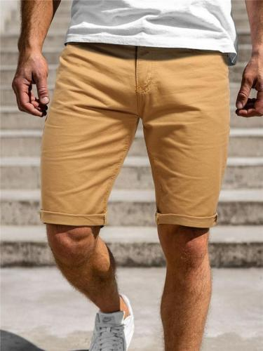 Mens Solid Color Casual Cargo Knee Shorts