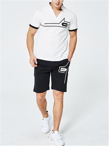Mens Soft Comfy Print Short Sleeve Shirts+Shorts