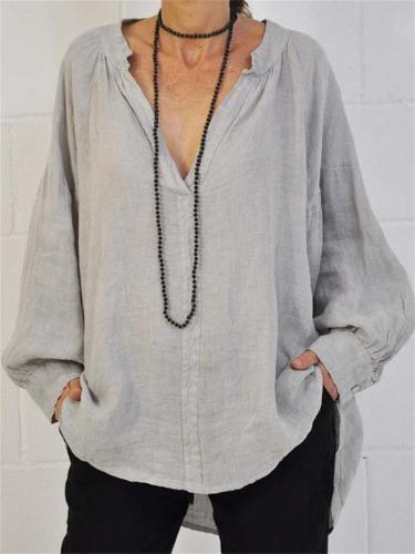 Women's Loose Pullover Style Solid Color V-Neck Blouse
