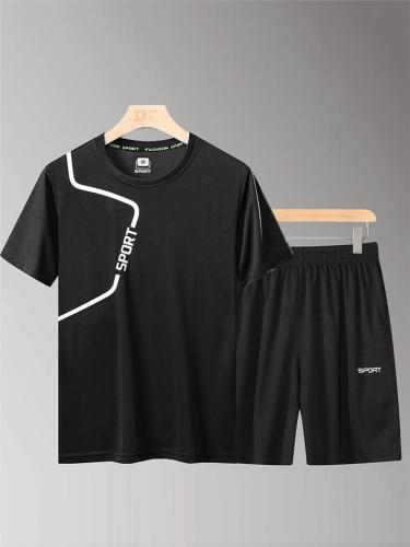 Mens Moisture Wicking Sports Short Sleeve T-Shirts+Shorts