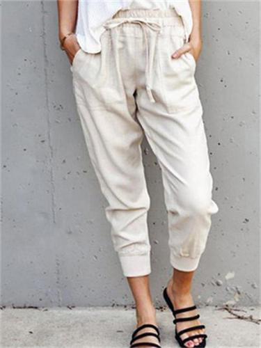 Casual Sports Cotton And Linen Solid Color Simple Style Lace-Up Slim Cropped Trousers