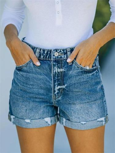 Urban Casual Style Comfy Washed Effect Denim Shorts