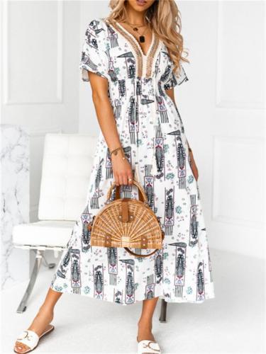 Pretty Pullover Style Printed V-Neck Short-Sleeved Elastic Waist Dress