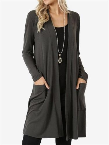 Women's Simple Style Open FrontLong-Sleeved Mid-Length Pocket Knitted Cardigan