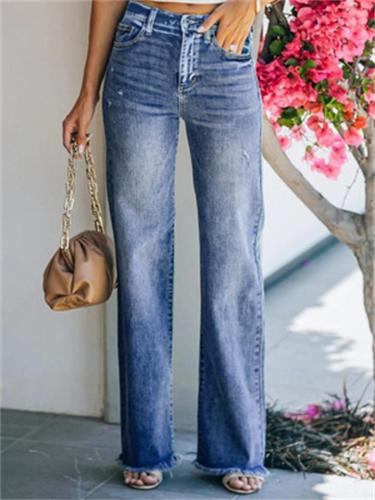 High Quality Washed Effect Straight-Leg Mid-Rise Jeans