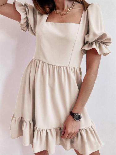 Elegant Ruffle Sleeve Solid Color Ruffle Dress