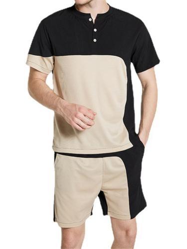 Mens Breathable Soft Irregular Patchwork Short Sleeve T-Shirts+Shorts