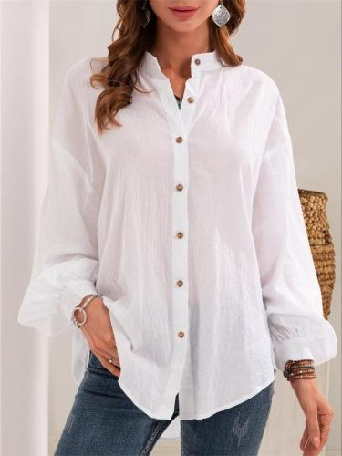 Cotton And Linen Solid Color Long-Sleeved Blouse For Women
