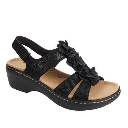 Retro Floral Deco Wedge Heel Peep Toe Velcro Sandals