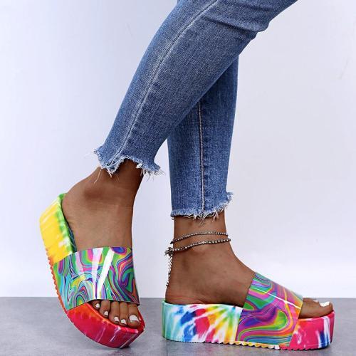 Lightweight Printed Mid-Heel Platform Slippers For Women