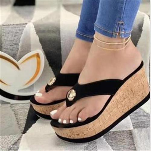 Casual Slip-On Style Platform Wedge Sole Sandals Slippers