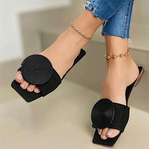 Summer Fashion Breathable SquareToe Coil Deco Slippers