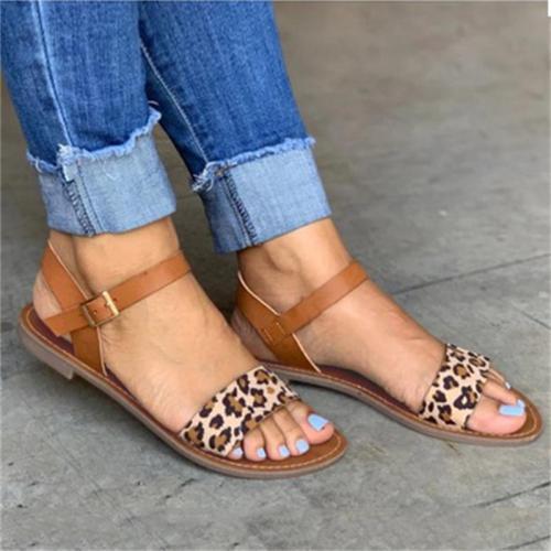 Sexy Plus Size Leopard Print Open Toe Sandals