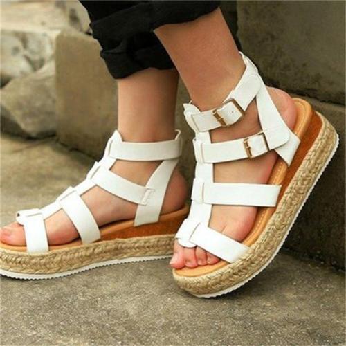 Comfy Platform Mid-Heel Buckle Sandals For Women