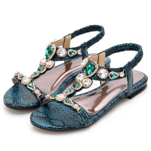 Women's Retro Rhinestone Beaded Deco Snake Print Flat Sandals