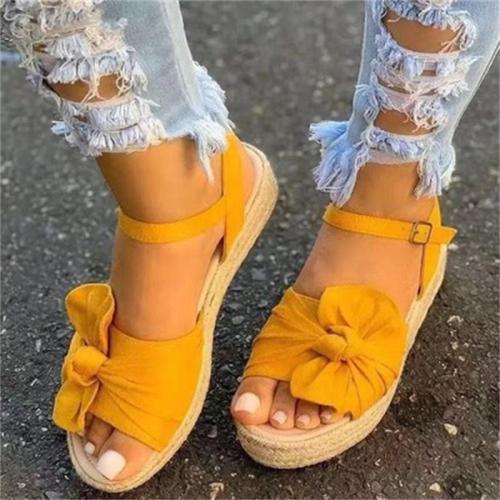 Pretty Flat Peep Toe Bowknot Deco Buckle Sandals
