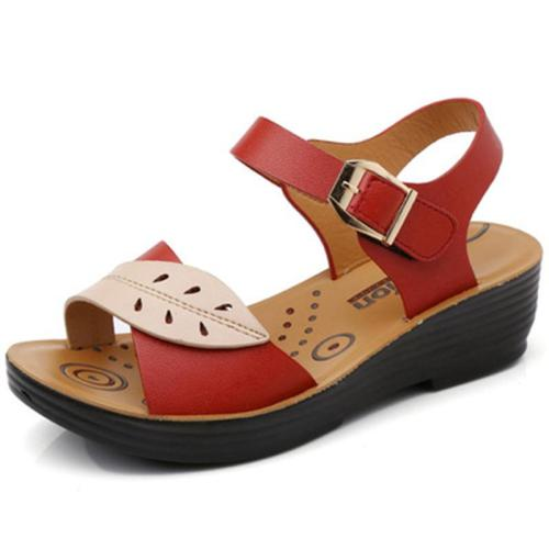 Fashion Low-Top Non-Slip Soft-Soled Leaf Pattern Buckle Sandals