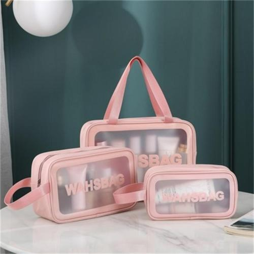 Three-Piece Set Fashion Transparent Portable Frosted Storage Bag